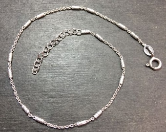 "Brand new 925 sterling silver bars and cable anklet link 1.0mm 9""-10"""