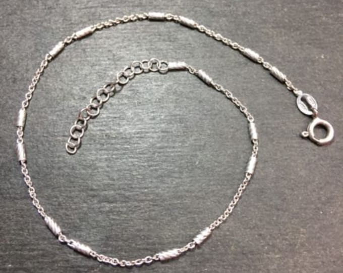 """Brand new 925 sterling silver bars and cable anklet link 1.0mm 9""""-10"""""""