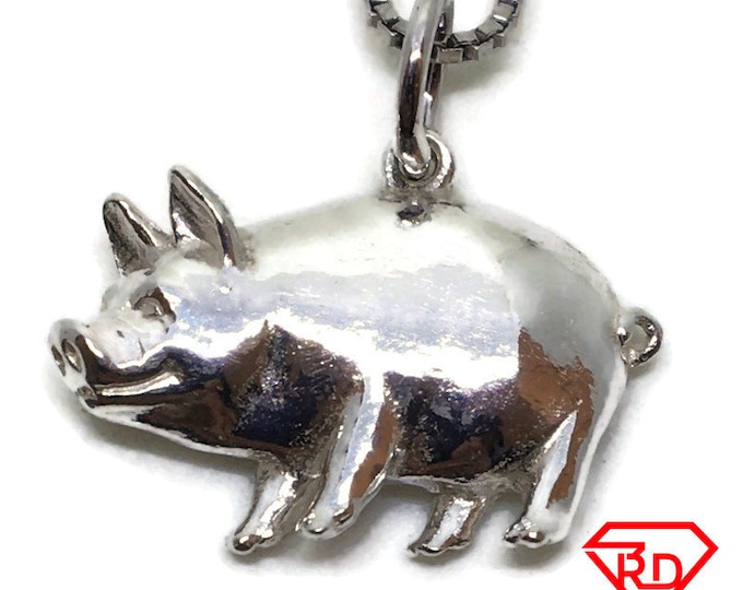 Fat Pig tiny charm pendant 925 Solid Silver