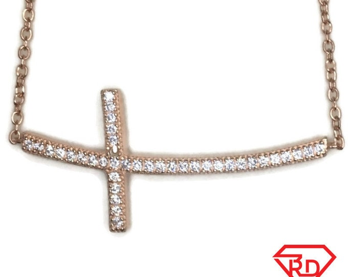 Rose Gold on Silver necklace Curvy Cross with round white CZ