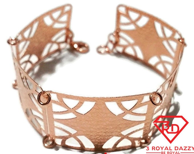 14k Rose Gold Layer on 925 Silver Bracelet - 3RoyalDazzy.com Handmade Exclusive- 12
