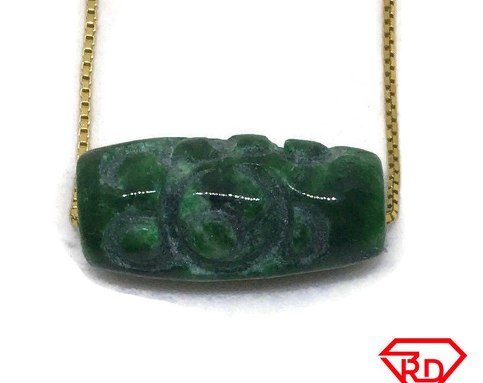 Long Oval Bead Green Jade Pendant with Free chain