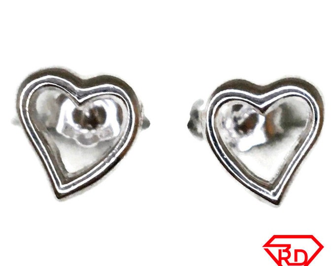 Hollow Heart Stud Earrings White Gold on Silver