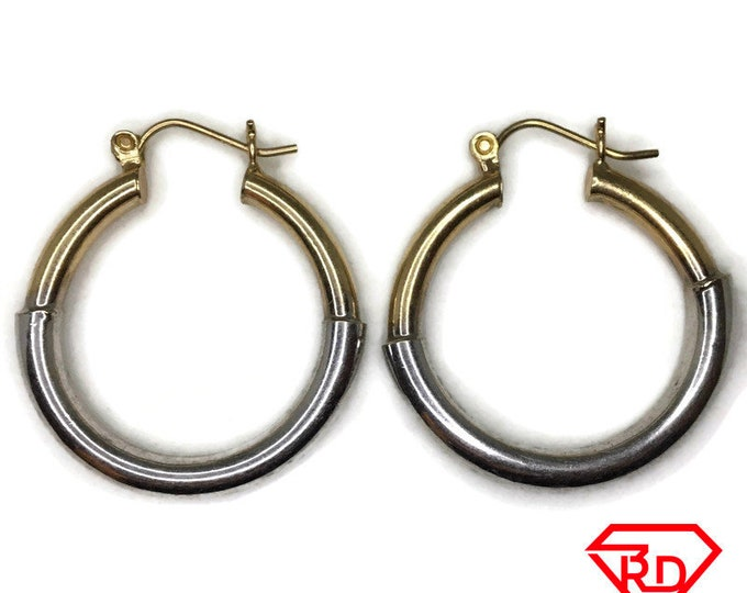14K Hollow round Hoop Earrings of 2 tone gold