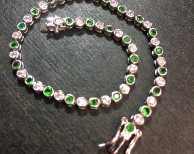 14k gold layer on sterling silver 2ct -green cz tennis link chain bracelet 3.1mm