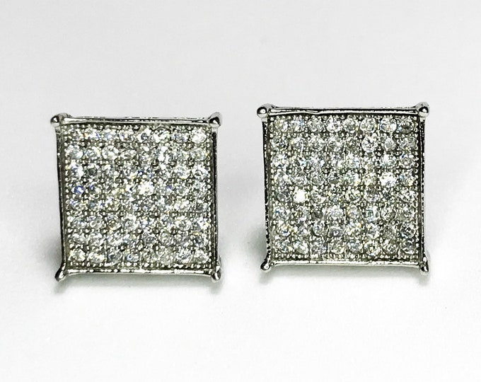 NEW 925 Sterling Silver cz Square - Shaped with Stone Stud Earrings