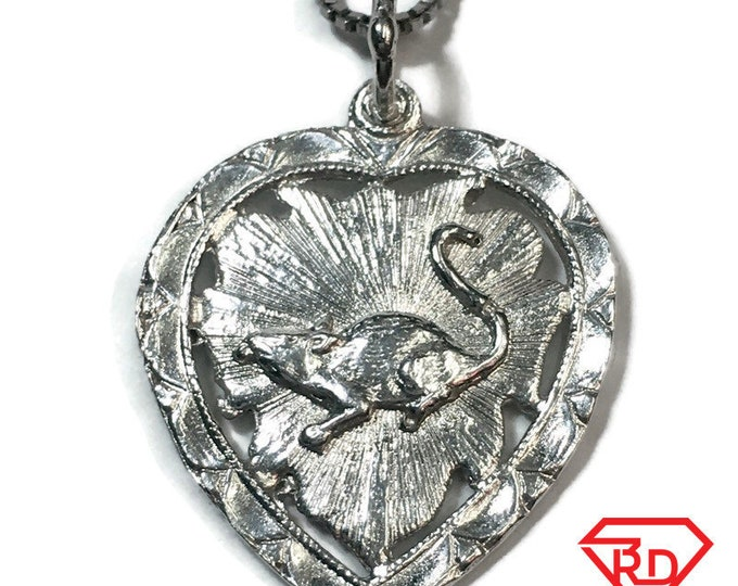 "New 925 Silver Chinese Character Writing ""Healthy"" &  mouse Heart Charm Pendant Reversible Design"