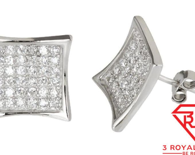 14k White gold layer Large size Hip Hop CZ 925 Sterling Silver MicroPave Earring