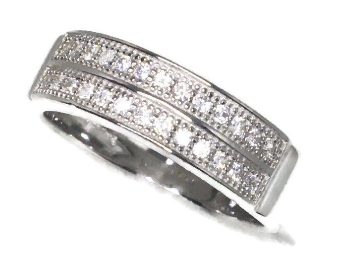 double row white round CZ White gold on Silver ring Band (9 . 75)