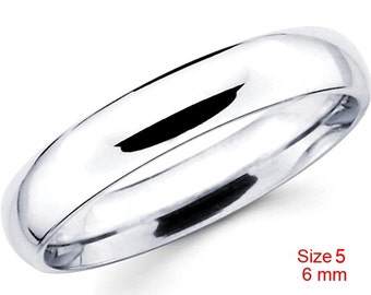 Mexican Anti tarnish 925 silver high polished glossy plain wedding band ring 6 mm Size 5