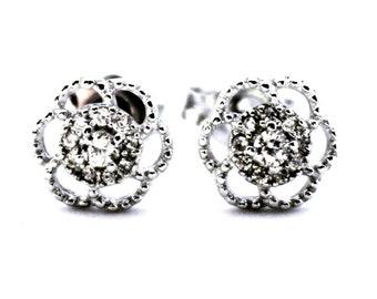 14K White Gold on Sterling Silver Flower Earrings