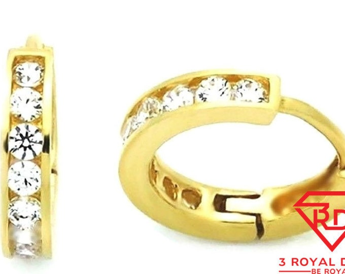14k yellow gold layer brilliance round cut cz hoop huggie earring / solid silver