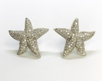 NEW 14K White Gold Layered on Starfish with Stones Stud Earrings