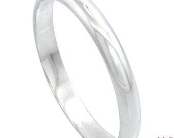 Italy 14k white gold layered on .925 silver high polished wedding band ring 2.8mm Size 11.5