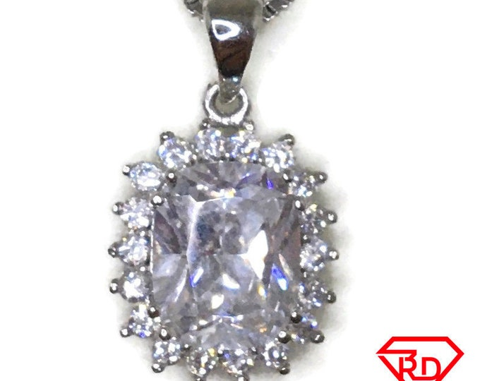 Cubic Zirconia Big Oval drop charm pendant white gold on silver