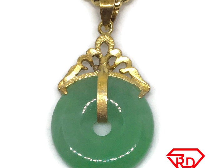 Small Halo green Jade Pendant Charm 24K Yellow gold Plated