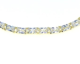 New Yellow Gold Layered 925 Solid Sterling Silver 7 inch 4 Prong Emerald White CZ Tennis Bracelet with Box Clasp