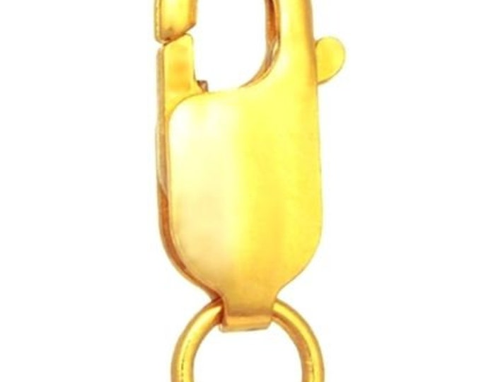 Large lobster claw clasp yellow gold layer on solid 925 sterling silver finding