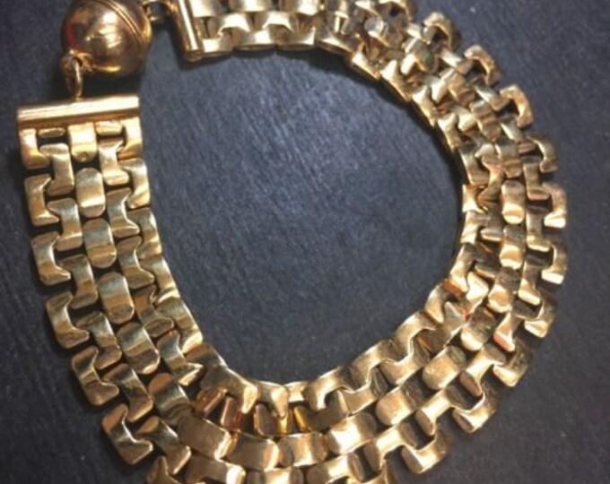 """Wide 14k layer on silver italian fancy reversible design watch bracelet 14.5mm8"""""""