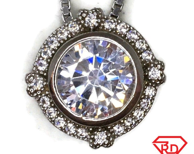 Cubic Zirconia Round Halo charm pendant white gold on silver