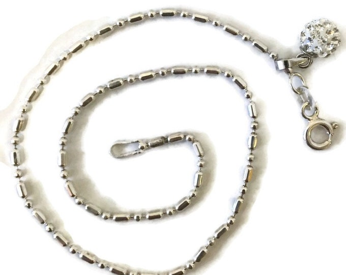 Brand New Anti-Tarnish Silver Anklet 9 inch beads and bar chain and CZ orb with spring ring clasp and 1 inch extension