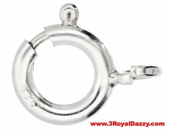 Small Spring Clasp Ring with jump ring solid .925 Sterling Silver Findings Repair