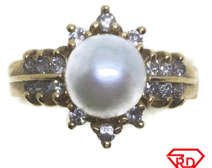 Artistic Diamond pearl ring 14k yellow gold S5