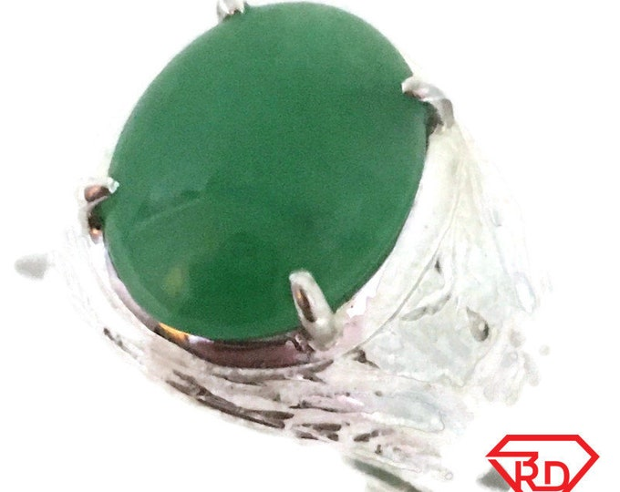 Oval jade green chinese Thick ring 925 solid Silver (size 8)