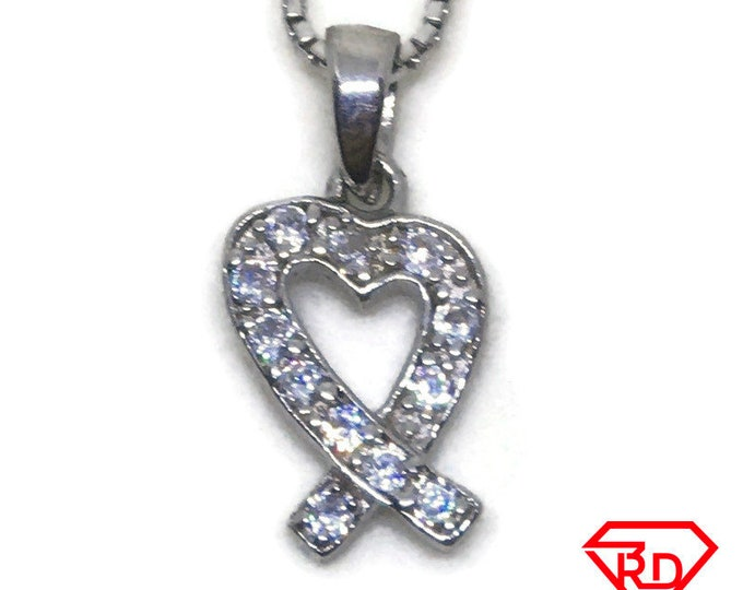 Heart Ribbon CZ charm Pendant White Gold layer