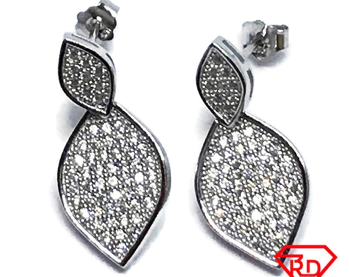 14K White Gold Layered on Sterling Silver Leaf Earrings