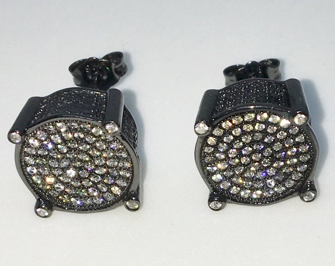 New 14k Black Gold on 925 Sterling Silver Caged Circle with Center White CZ Extra Large Studs Earrings ( 12 . 9  mm )