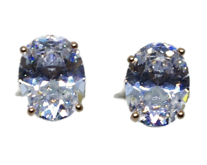 medium Oval white CZ Rose gold on Silver studs Earrings