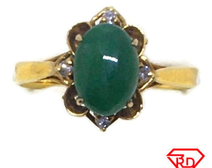 Handcraft 14k diamond and small green jade ring S5 . 5