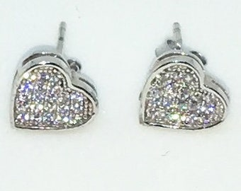14k White Gold Layered Heart shaped CZ on 925 Solid Sterling Silver Stud Earrings ( 8 . 8 mm )