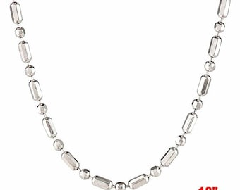 """18k white gold layered over .925 sterling silver -1 mm 1+1 diamond cut chain - 18 """""""
