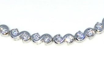 New White Gold Layered 925 Solid Sterling Silver 7 inch Large S design Round White CZ Tennis Bracelet with Box Clasp