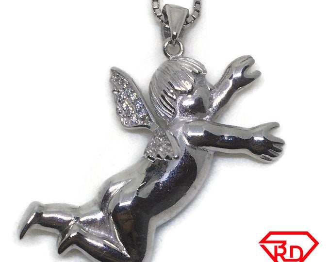 Hollow Angel CZ charm Pendant White Gold layer