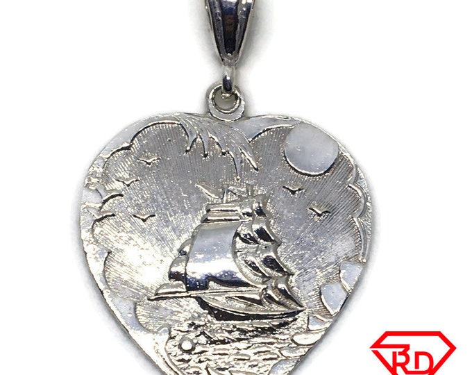 Safe sailing boat Large heart pendant White gold layer