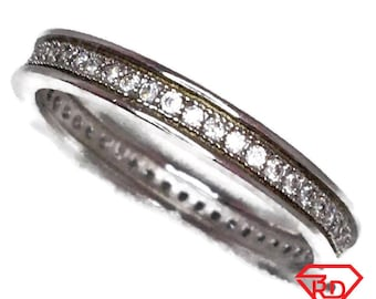 Eternity ring Cubic Zirconia thin white gold on Silver (size 7)