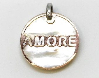NEW Seashell With Rose Gold Layered on .925 Sterling Circle Amore Pendant