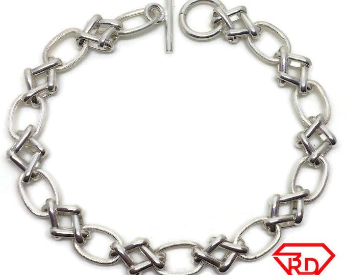 Artistic oval Link Chain 8 inch Bracelet 925 Silver