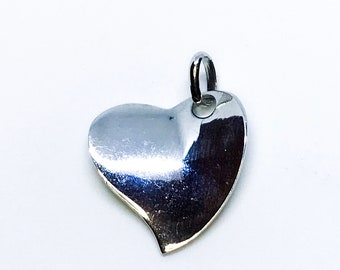 NEW 14K White Gold Layered on .925 Sterling Silver Thin Curvy Heart Pendant