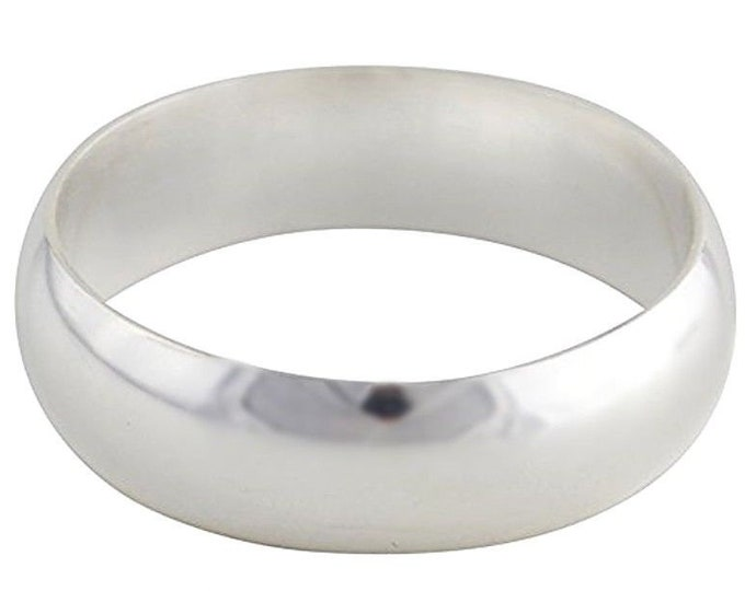 Handmade solid 999 silver high polished glossy plain wedding ring band 5mm s7.5