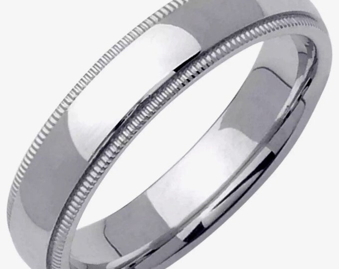 4mm Size 8 - Handcrafted solid 925 Silver high polished Rhodium plain wedding Ring Band