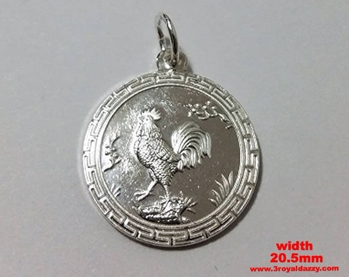 Chinese Zodiac Horoscope Silver Rooster Pendant