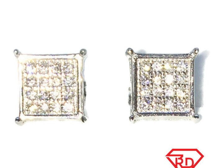 Brand New White Gold on 925 Solid Sterling Silver Pointy Corner Square with white round CZ studs Earrings ( 8 . 1  mm )