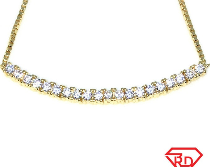 New Gold Layered 925 Solid Sterling Silver 9 inch single row of Medium white round CZ Adjustable pulley bracelet