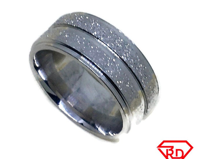 Double Sandblast ring band Gold plated Titanium Steel S5 . 5