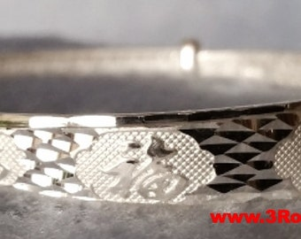 Handmade Chinese Word Lucky All Around 999 Solid Fine Silver Adjustable Bangle