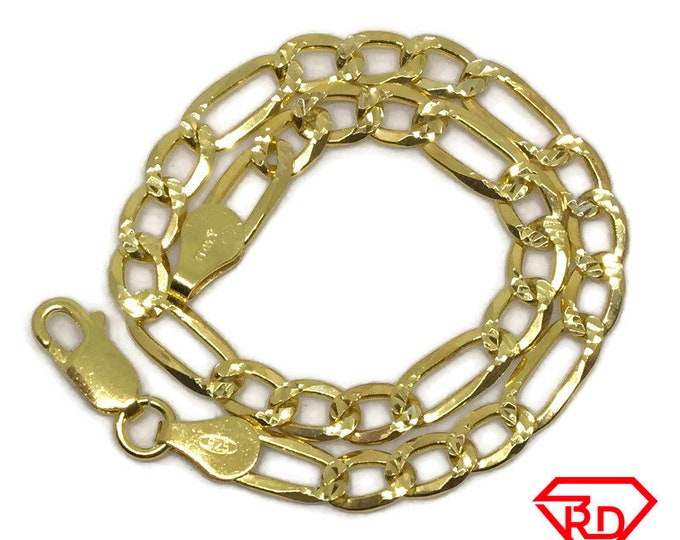 Figaro Chain 8 inch Bracelet .999 Yellow Gold Layer